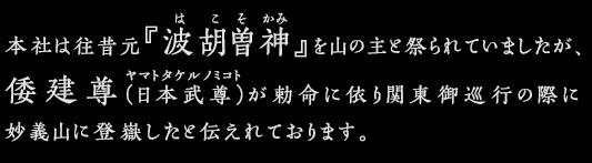 本社は往昔元『波胡曽神』を山の主と祭られていましたが、倭建尊(日本武尊)が勅命に依り関東御巡行の際に妙義山に登嶽したと伝えれております。
